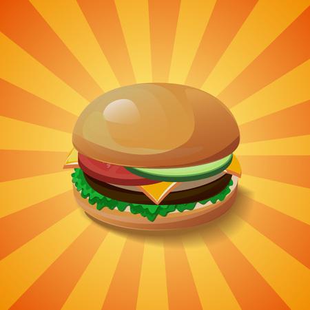pepino caricatura: Vector concepto de hamburguesa. Elemento de dise�o para cafeter�a y restaurante men� ilustraci�n, cartel de comida r�pida o para el logotipo. Dise�o de dibujos animados en 3D de los alimentos. La dieta y h�bitos alimenticios poco saludables ilustraci�n.