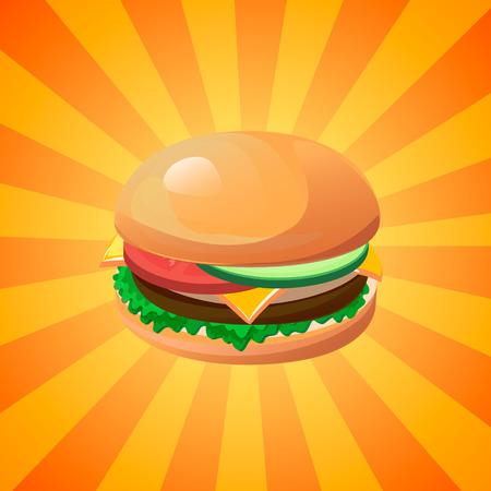 eating habits: Hamburger vector concept. Design element for cafe and restaurant menu illustration, fast food poster or for logotype. 3d cartoon design of food. Diet and unhealthy eating habits illustration.