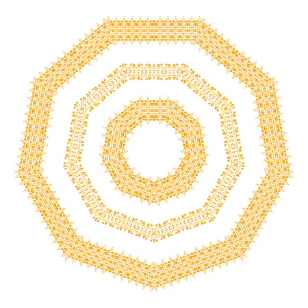 Beautiful gold ornament isolated on the white background made in vector. Indian mandala. Tribal vintage ethnic element for your business. Oriental ornament, Mexican, Aztec and African collection of tribal art. Illustration