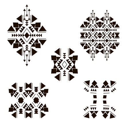 Tribal design elements isolated on the white background made in vector. Tribal vintage ethnic elements for your business. Oriental ornament, Mexican, Aztec and African collection of tribal art.