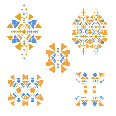 Tribal design elements isolated on the white background . Tribal vintage ethnic elements for your business. Oriental ornament, Mexican, Aztec and African collection of tribal art.