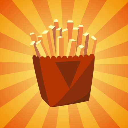 Bunch of French fries potato in bucket. Colorful cartoon fast food icon. Beautiful menu design element. All the elements are grouped and easy editable.