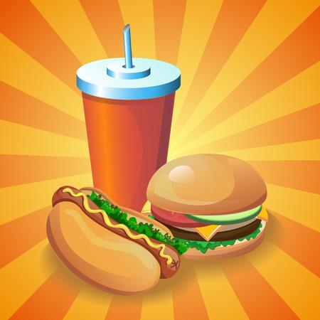 rápida cartel de la historieta de los alimentos. Ilustración para la tarjeta del menú con hamburguesa, perro caliente y bebida.