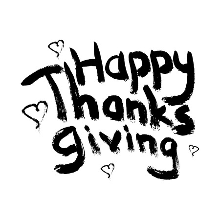decorating typography on white background.  design element for window printing, making invitations, greeting cards, wall decor. Happy thanksgiving phrase. Illustration
