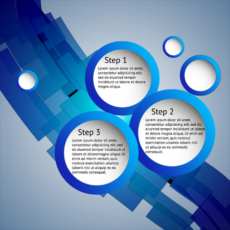 Blue business frame for three steps Illustration