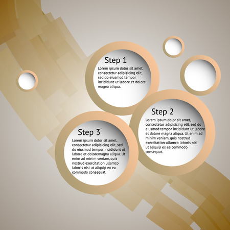 Brown business frame for three steps.