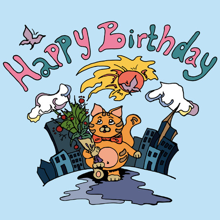 Happy Birthday card with a cat walking down yhe street