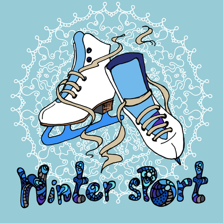 Pair of skates for figure skating with a snowflake at the background