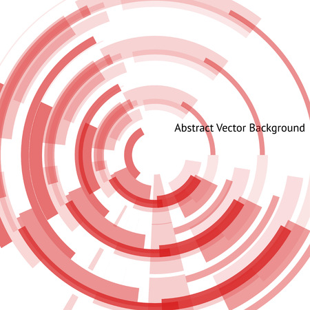 Abstract cyber background with technical rings in the center. Red geometrical shapes on the white background. Beautiful vector detail for your futuristic web-design. Illustration
