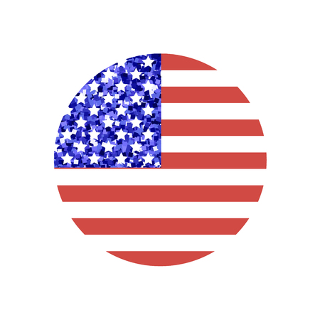 Round shape american flag with glitter inside made in vector. Beautiful graphic design element for holiday greeting card, event poster or glamorous sticker, patches for clothing Illustration