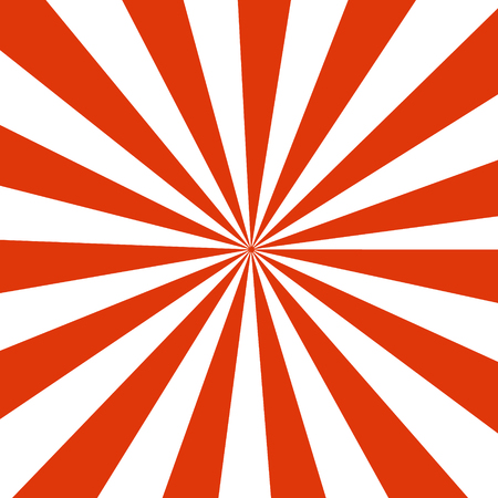 Bright abstract cartoon background with repeated red and white stripes around the center imitating funny pop corn box template. Retro circus tent wallpaper. Perfect clean design for comics, show, party posters. Ilustração