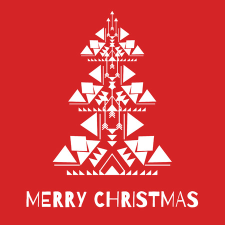New Year knitted greeting card with white christmas tree on red background. Merry christmas concept in native geometrical style. Modern design element for invitation, flyer, advertising poster, label