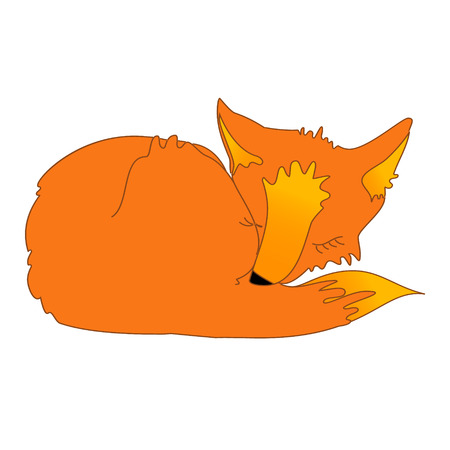 Sleeping red fox with closed eyes isolated on the white background. Vector illustration for a children's book, bag or t-shirt print, fairytale poster.