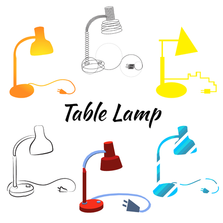 desk lamp: Table lamp set of different designs isolated on the white background. Desk lamp models in flat and line style with wire and off plug for modelling interior design. Electricity power concept.