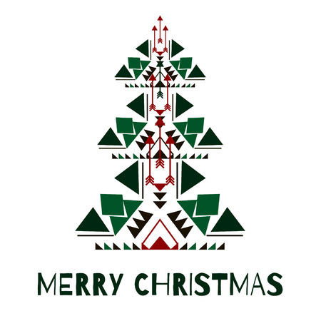 Merry christmas concept in native geometrical style. Tribal design element for greeting card, invitation, flyer, advertising poster or label. Vector christmas tree silhouette in boho style.