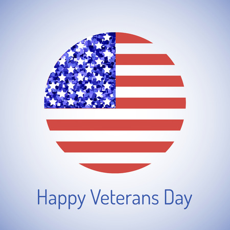 Happy Veteran's day design with circular american flag and typography for a greeting card or poster. The 11th of November composition, Veterans Day poster design, round emblem of national victory.
