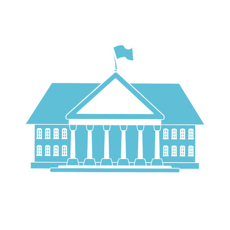 Blue government building shape for your official serious card design.