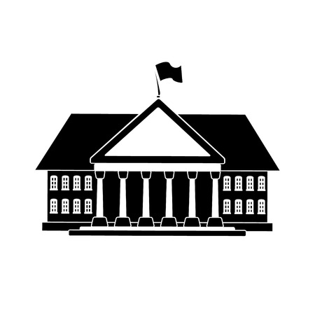 front elevation: Black government building shape for your official serious card design.