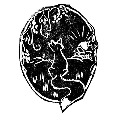 fable: Vector illustration of fable about a fox and grapevine. Vintage style print, wildlife concept