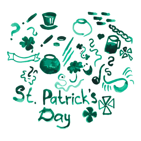 Watercolor set of hand drawn design elements for st patrick'??s day materials such as poster, flyer, flag, greeting card, advertising, merchandising in cartoon flat style. Saint Patrick Day symbols