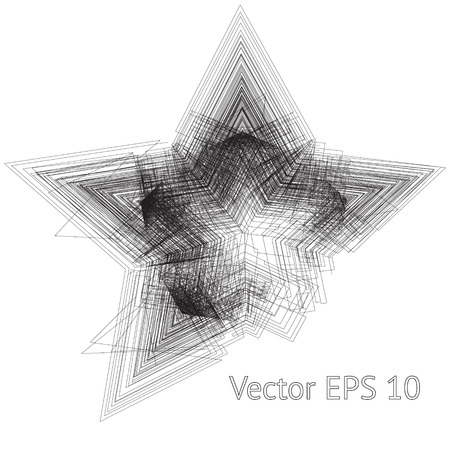Modern background with grunge tangled five point star shape fading in the center. Geometric black lines imitating scratch effect on the paper. Perfect design for your business Illustration