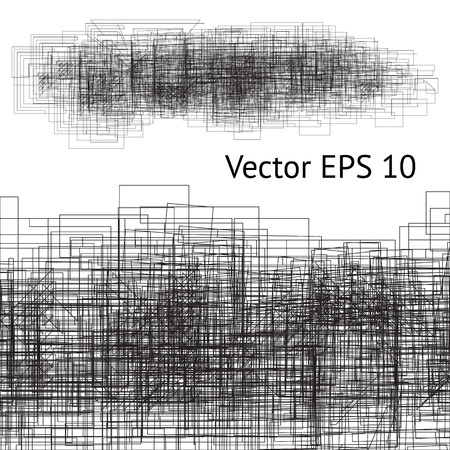 Vector modern background with grunge tangled spot. Geometric black lines imitating scratchy effect on the paper. Perfect design for your business presentation or digital brush.