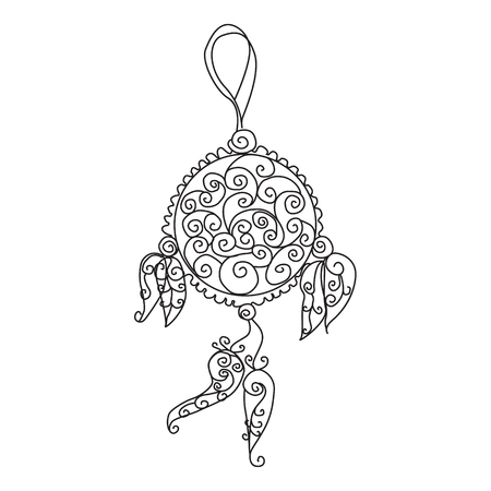 Hand drawn Indian dream catcher with feathers. Vector hipster illustration isolated on the white background. Perfect page design for a coloring book for adults.