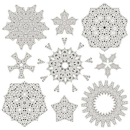 Oriental round design elements for your business. Tribal mandala set. Snowflakes in native tribal style for christmas decoration.