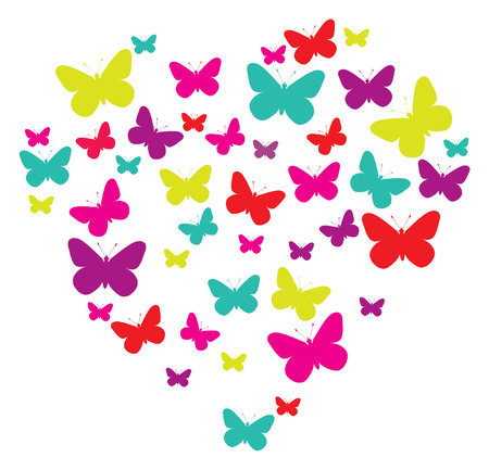 butterflies heart isolated on white Vector