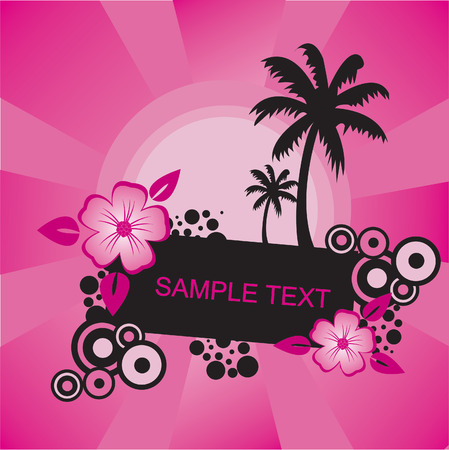 pink frame with flowers Vector