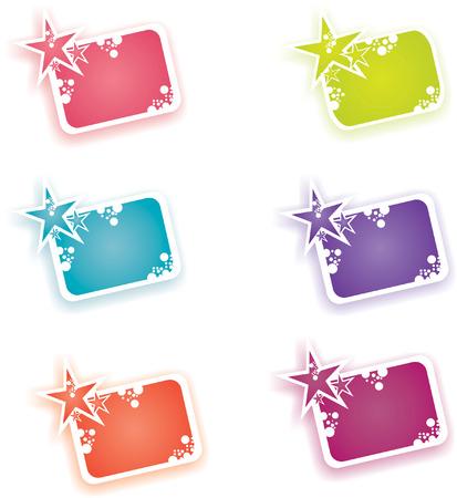 set of 6 star frames Vector