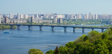 Skyline of Kiev, Ukraine at the Dnieper river Stock Photo - 13660398