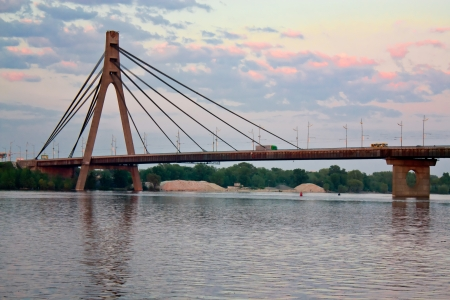 bridge footing: Suspension bridge across Dnieper river in Kiev