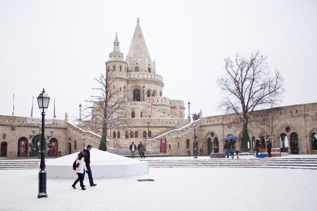 Fishermen s bastion at winter in Budapest, Hungary Stock Photo - 18560313