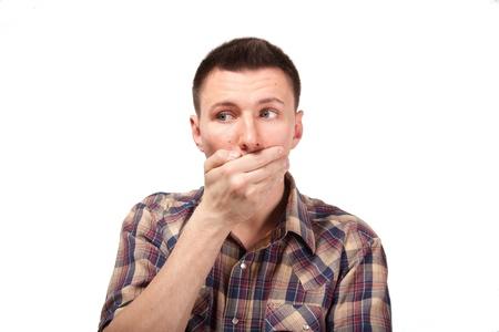 chemise carreaux: L'homme en chemise � carreaux avec la bouche ferm�e Banque d'images