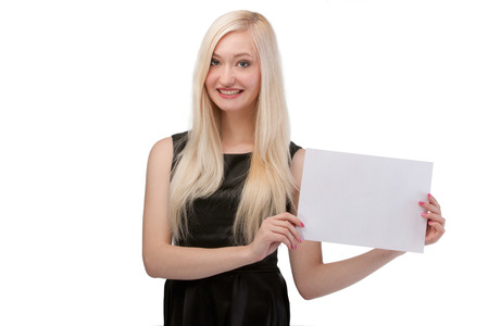 Smiling woman holding blank card.  photo