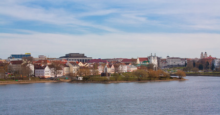 svisloch: Old town, cityscape with church and river Svisloch, Trinity Suburb, Minsk, Belarus Editorial