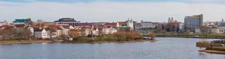 svisloch: Old town, cityscape with church and river Svisloch, Trinity Suburb, Minsk, Belarus Editorial