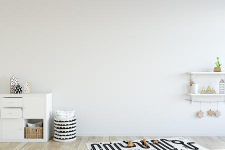 Spottwand im Kinderrauminnenraum. Innen skandinavischen Stil. 3D-Rendering, 3D-Darstellung. Perfekt für das Branding Ihrer Kreation oder Ihres Unternehmens. Innenwand Mockups sind gut für Shopbesitzer, Künstler, Kreative, Blogger, die werben oder ihr neues Design zeigen möchten!