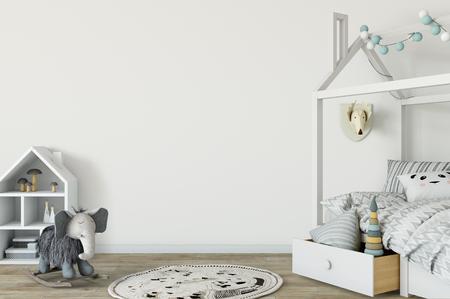 Mock up parete nell'interno della stanza del bambino. Interni in stile scandinavo. Rappresentazione 3d, illustrazione 3d. Perfetto per il branding della tua creazione o attività. Mockup per pareti interne ideali per proprietari di negozi, artisti, creativi, blogger, che vogliono pubblicizzare o mostrare il loro ultimo design!