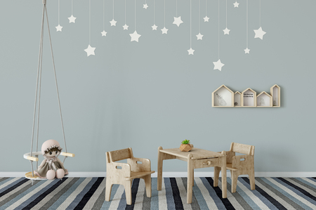 Mock up wall in child room interior. Interior scandinavian style. 3d rendering, 3d illustration. Perfect for Branding your creation or business. Interior wall Mockups good to use for shop owners, artists, creative people, bloggers, who want to advertise or show their latest design!