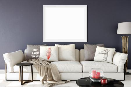 frame mock up in living room interior. Interior scandinavian style. 3d rendering, 3d illustration