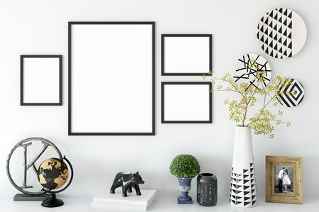 frame mock up in living room interior. Interior scandinavian style. 3d rendering, 3d illustration