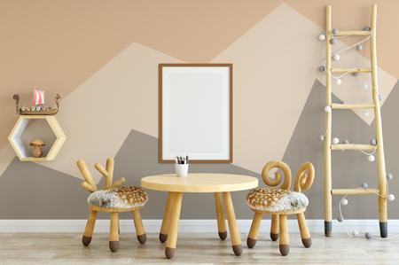 frame mock up. Interior scandinavian style. 3d rendering, 3d illustration