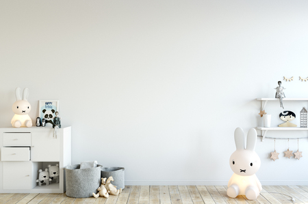wall mock up in child room interior. Interior scandinavian style. 3d rendering, 3d illustration