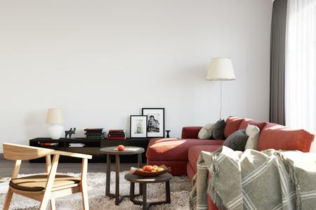 wall mock up interior. Wall art. 3d rendering, 3d illustration