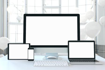 mock up devices in interior. 3d rendering, 3d illustration Banque d'images - 95538322