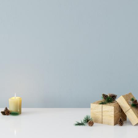 Wall mock up Christmas interior. Scandinavian styl