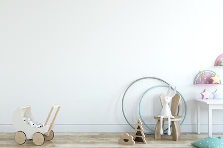 Muro mock up. Interno della stanza del bambino. Stile scandinavo. Rappresentazione 3d, illustrazione 3d