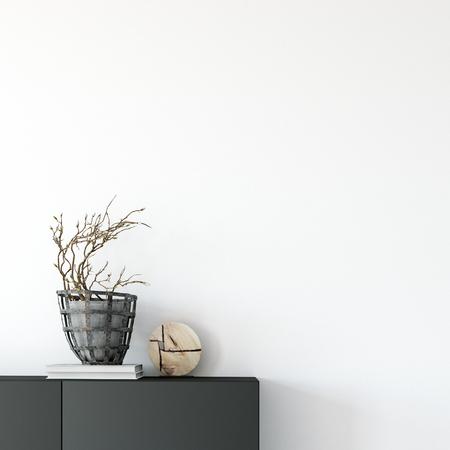simulacros del interior de la pared. Estilo escandinavo. Mural. Representación 3d, ilustración 3d